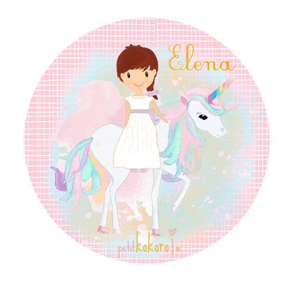 Chapas comunión niña modelo unicornio