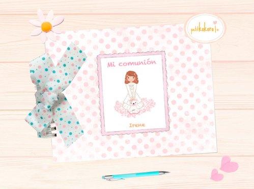 libro de comunión niña personalizado modelo Irene Petitkokoro
