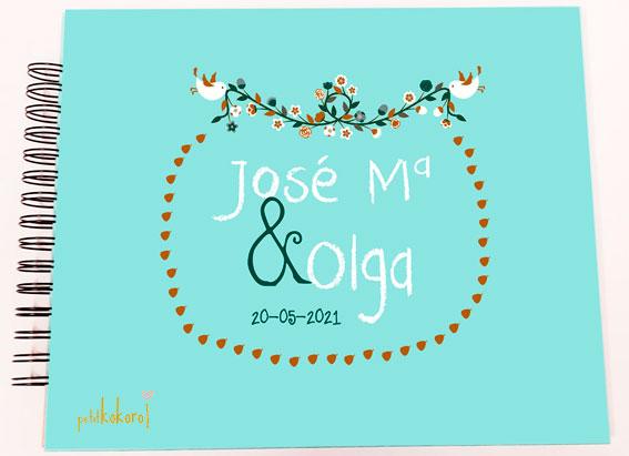Libro de firmas álbum personalizado de fotos boda Petitkokoro modelo Jose María