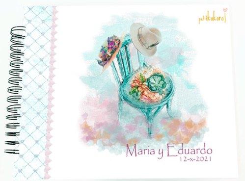 álbum de firmas y fotos boda personalizado modelo María petitkokoro