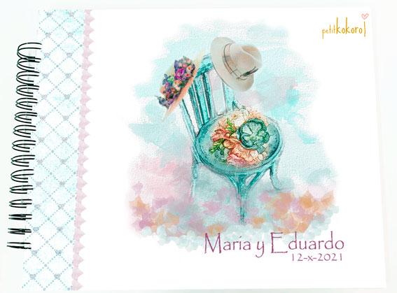 Libro de firmas álbum personalizado de fotos boda Petitkokoro modelo María