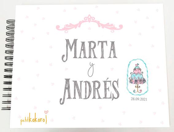 Libro de firmas álbum personalizado de fotos boda Petitkokoro modelo Marta
