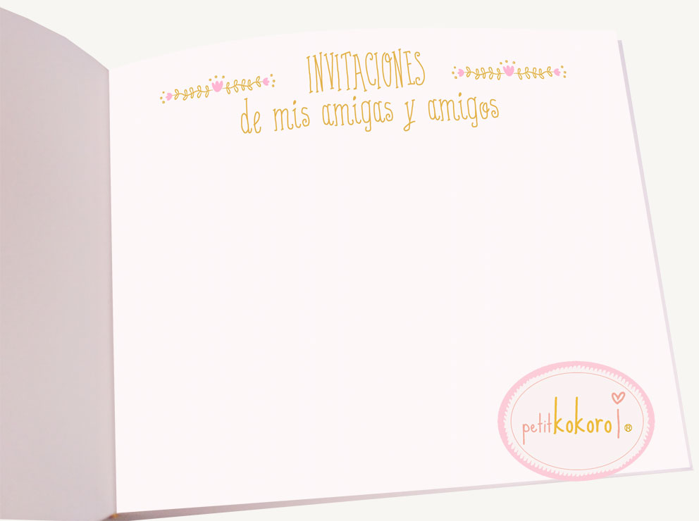 libro de firmas comunión niña hoja invitaciones Petitkokoro