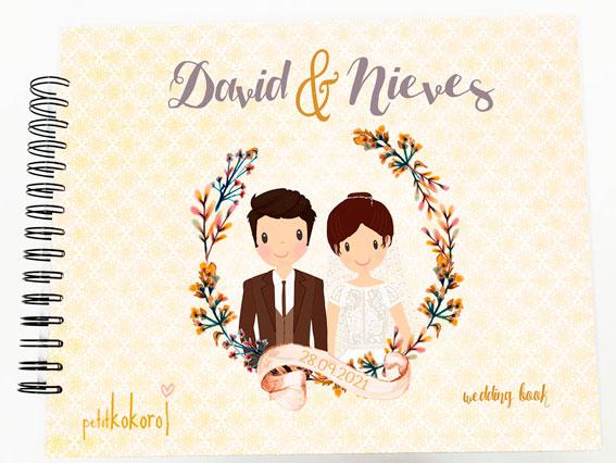 Libro de firmas álbum personalizado de fotos boda Petitkokoro modelo David