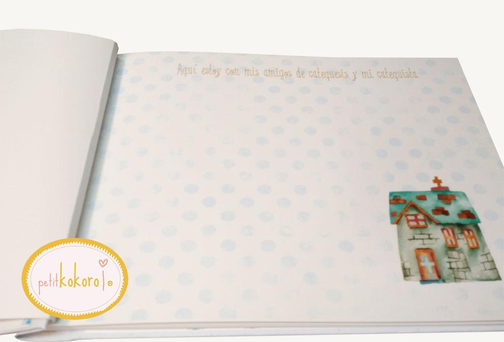 libro de firmas comunión niño hoja catequesis Petitkokoro
