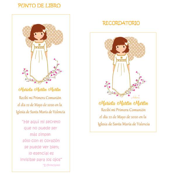 Punto de libro y Recordatorio comunión niña modelo Marieta