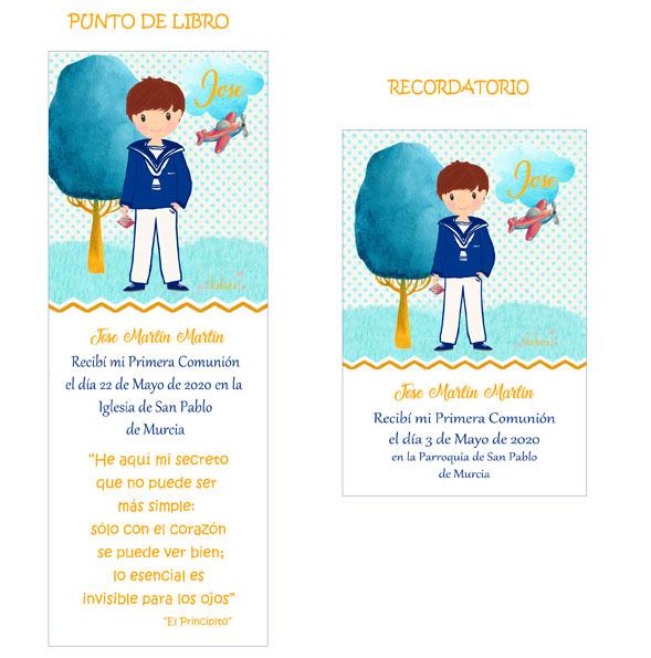 Punto de libro y Recordatorio comunión niño modelo Jose