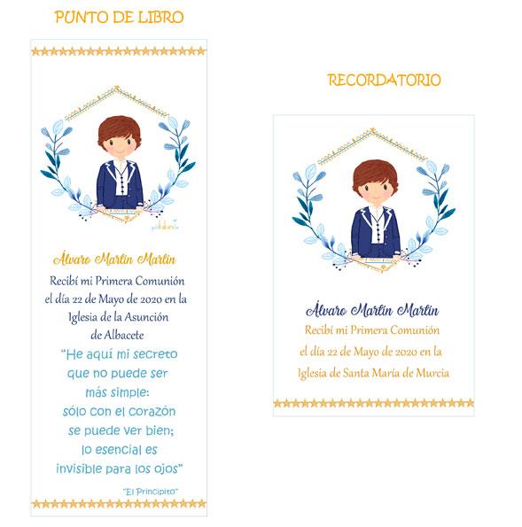 Punto de libro y Recordatorio comunión niño modelo orla Álvaro