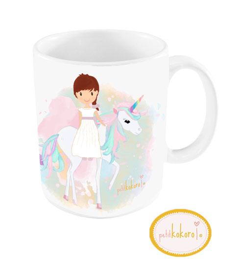 Taza de comunión niña modelo unicornio
