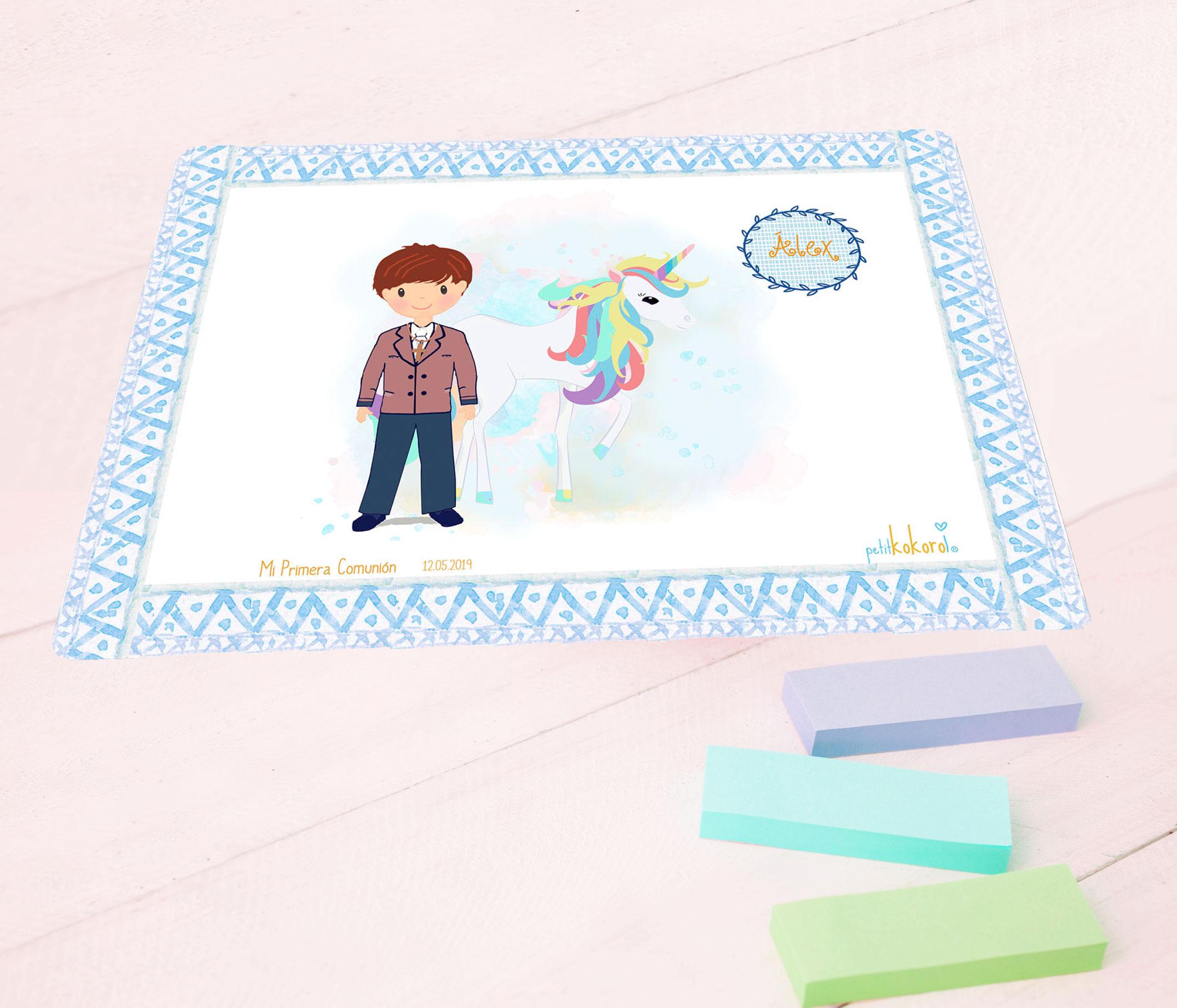 Vade mesa escritorio comunión niño modelo unicornio