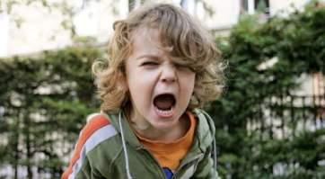 Victor Eliott, garcon de trois ans, dans un parc, jardin d'enfants, square, crie, colere, furieux *** local caption ***Child's daily life illustration . Victor Eliott, little boy, 3,in park, kindergarten, cries, shouts, angry, upset