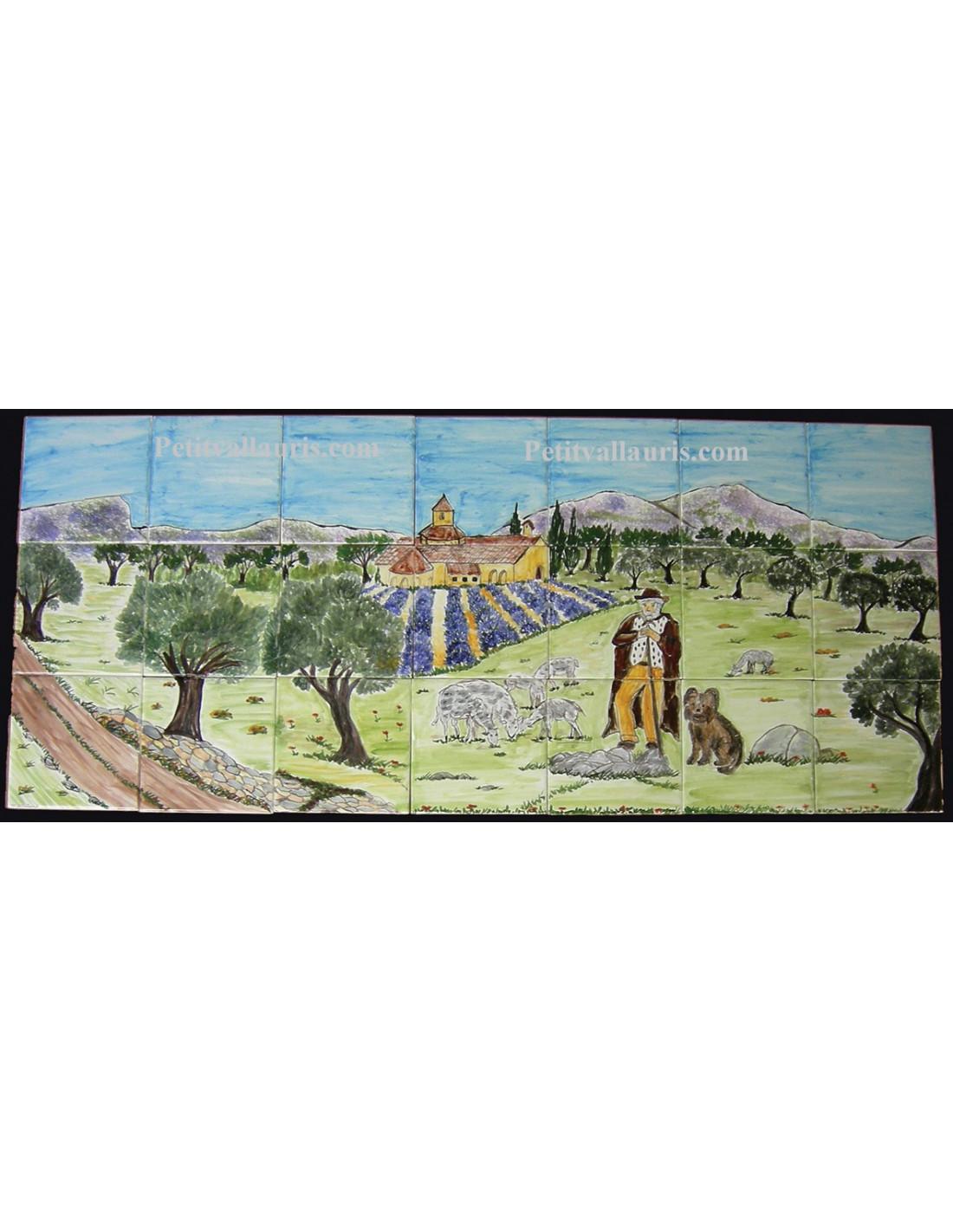fresque murale sur carreaux de faience decor artisanal modele berger monastere et paysage provence 30x70