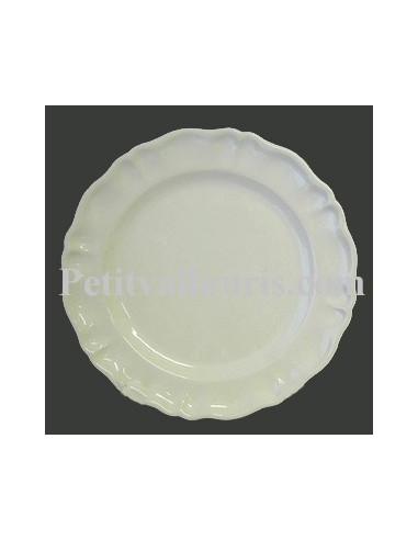 assiette en faience plate modele louis xv emaillee unie blanche