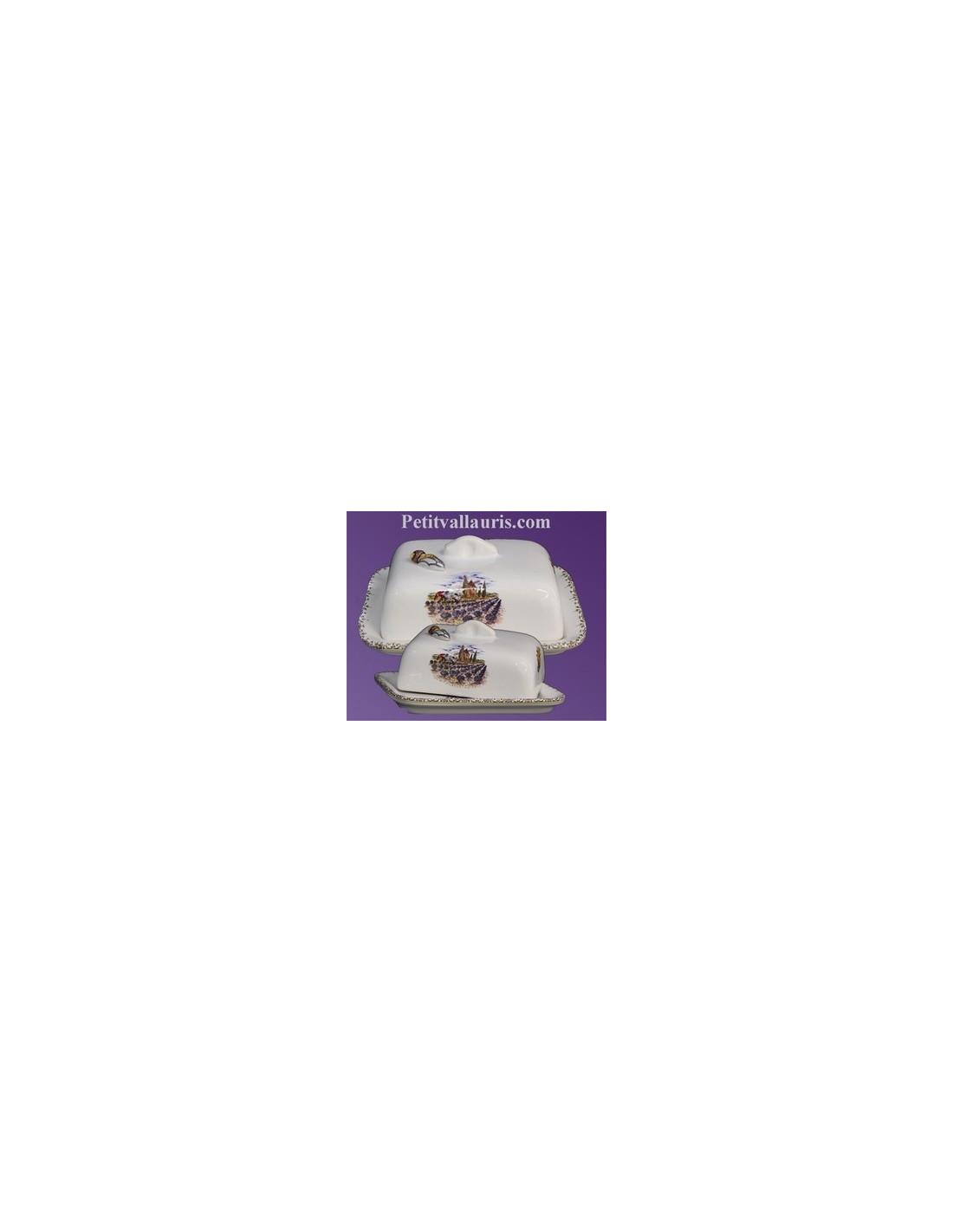 beurrier en faience blanche decor motif provencal et cigale en relief