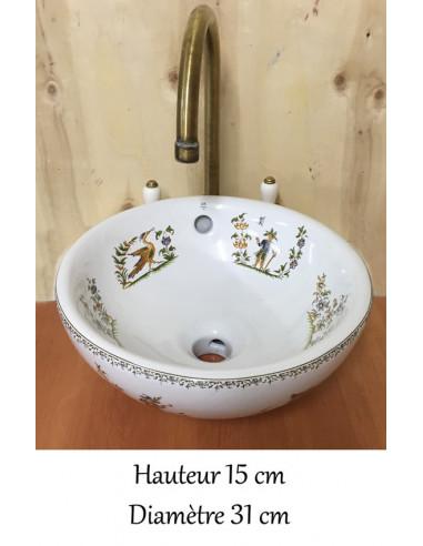 Petite Vasque Bol Ronde En Porcelaine Blanche Reproduction Decor Tradition Vieux Moustiers Polychrome