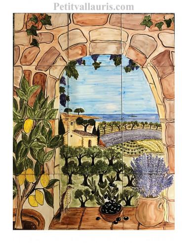 fresque murale sur carrelage en faience motif artisanal trompe l oeil paysage mediterraneen 60x80