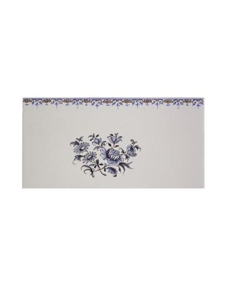 carrelage mural 10 x 20 en faience decor gros bouquet de fleurs tradition bleu avec frise