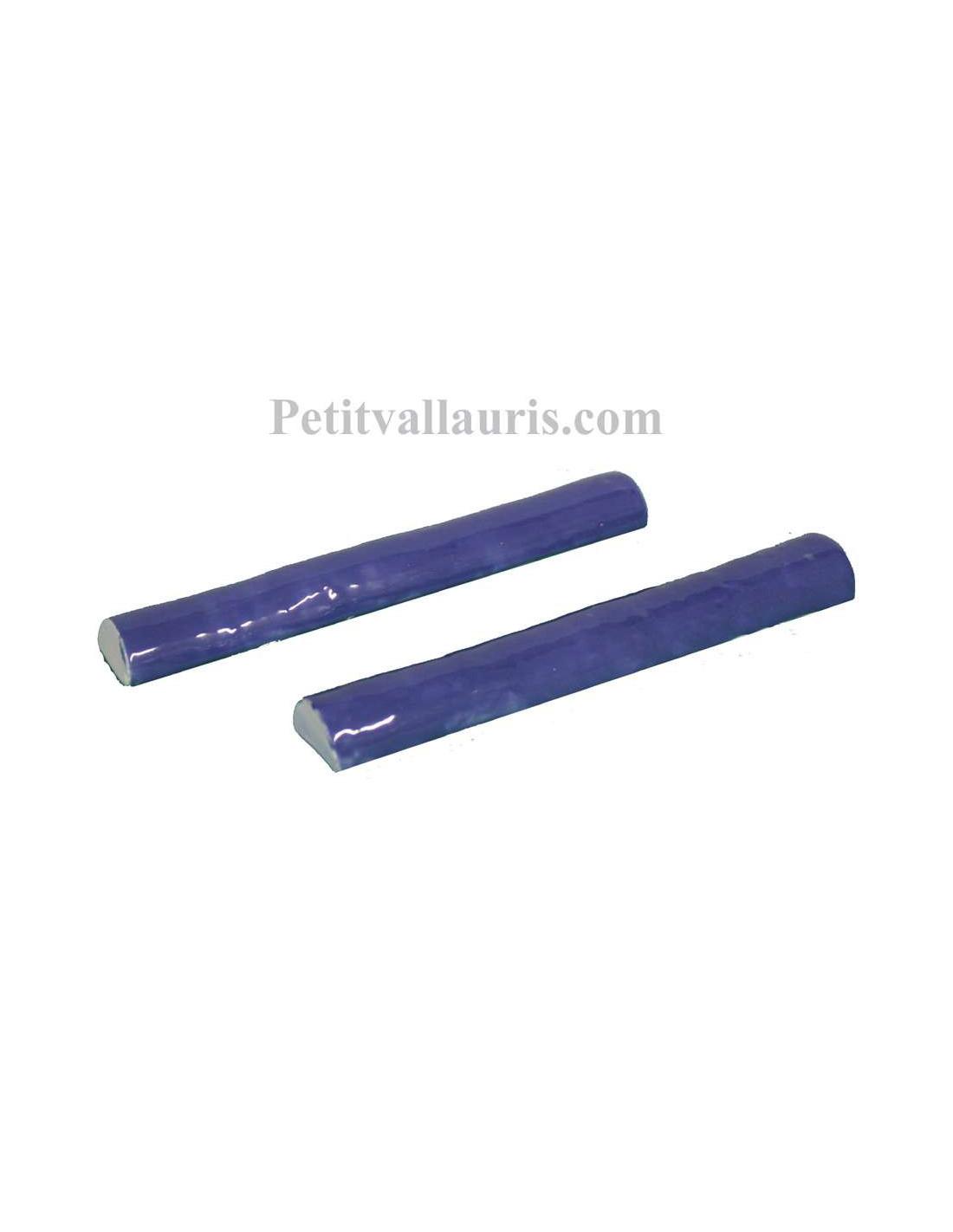 listel de finition en faience modele demi rond fin emaille couleur unie bleu lavande