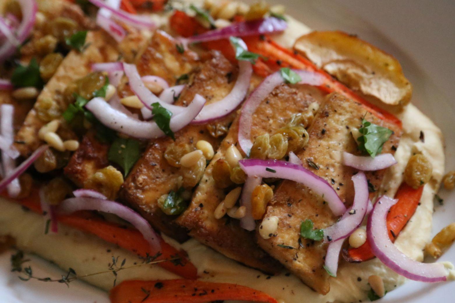 Spiced Tofu with Fava Purée