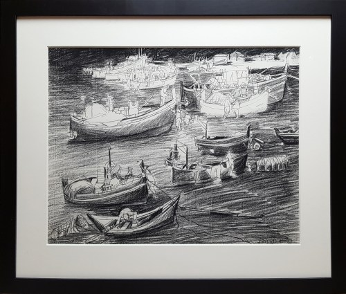 Jack Shadbolt (1909-1998) Collioure - Low Tide, Charcoal and pencil on paper,