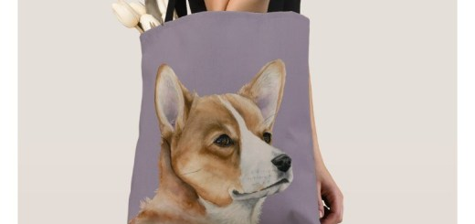 Dog Art Painting Tote Bags