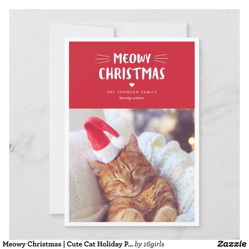 Kitten Hiding In Xmas Hat Personalised Christmas Card