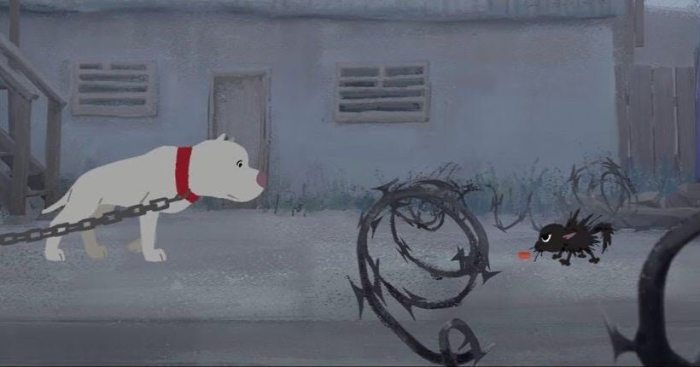 A single frame from Kitbull, the impactful Oscar contender in the Best Animated Short Film category