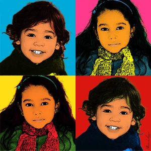 """Set of 4 pop Art portrait created for Jessica """"Marion was great to work with! She was very professional and we were very happy with our art piece. Thank you!"""" www.etsy.com/shop/MarionDeLauzun/reviews"""