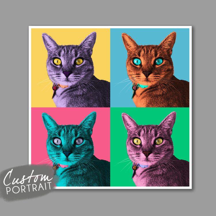 custom cat portrait set of 4