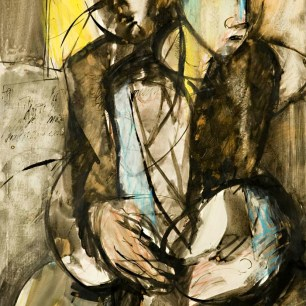 Couple, 1983, acrylic and ink on paper, 75 X 46 | Private collection