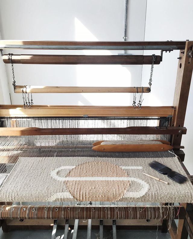 Tapestry weaving on a low-warped loom by Christabel Balfour
