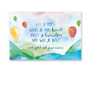 wenskaart waterverf luchtballon Dreams Petra van Dreumel