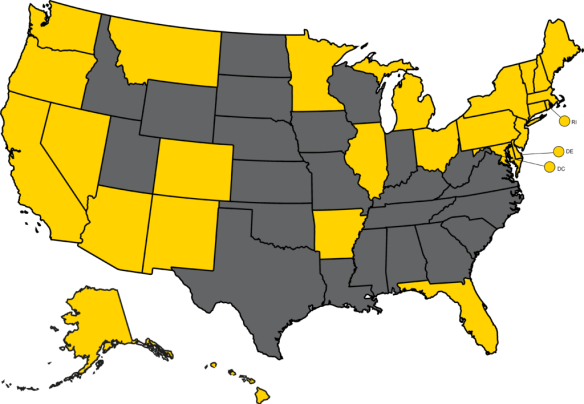 27 states and Washington, DC are shown in yellow on a map of the US