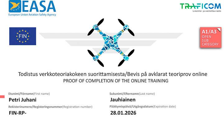 Valokuvaaja Petri Jauhiainen Todistus kauko-ohjaajan Avoin A1/A3 pätevyydestä