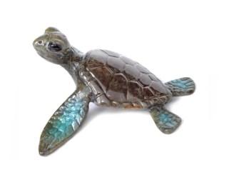 "Lil-Flipper, Medium: Bronze Size: 3"" x 3"" x 1.5"" Edition: 1000 Catalog: #BT1 Colors: Brown, Blue, Black, Green Artist: Chris Barela"