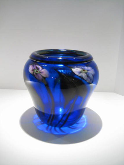 "Cobalt-Blue-Drop-Leaf-Vase, Medium: Glass Size: 9"" x 9"" Artist: Charles Lotton"
