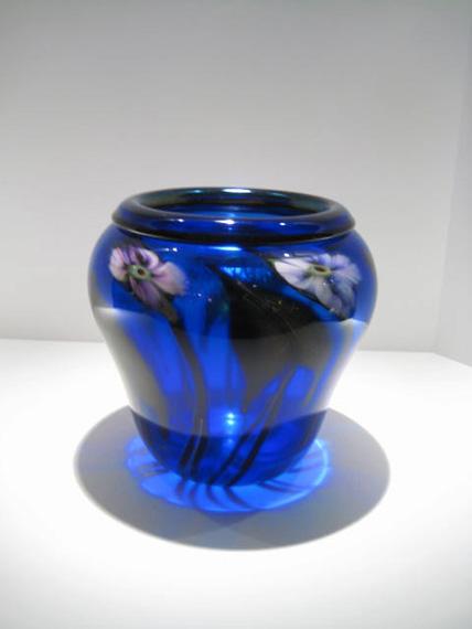 "Cobalt-Blue-Drop-Leaf-Vase, Medium: Glass Size: 9"" x 9"" Artist: Charles Lotton"