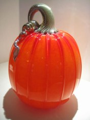 "Large-Red-Orange-Pumpkin, Medium: Glass Canvas Size: 8"" x 13"" Artist: Cohn-Stone Glass Studios"