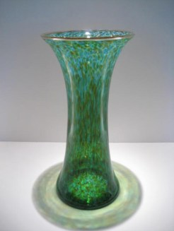 "Red-Green-Hourglass-Vase, Medium: Glass Canvas Size: 13"" x 6.5"" Artist: Cohn-Stone Glass Studios"