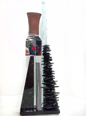 "Finch-Red-Viewpoint,Medium: Glass, Metal, Granite, Marble, Unique Size: 25.5"" x 10.5"" x 4"" Artist: Gundi Finch"