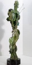 """Green-Man, Medium: Hand Blown & Cast Glass Size: 29"""" x 7"""" x 4"""" Artist: Susan Gott"""