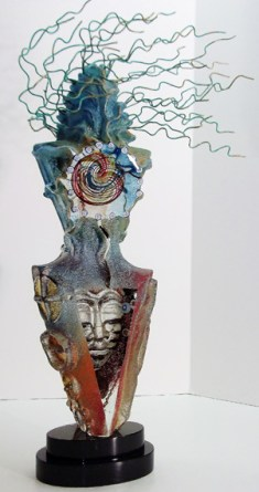 "Ritual-Spirit, Medium: Hand Blown & Cast Glass Size: 24"" x 6.5"" x 4"" Artist: Susan Gott"