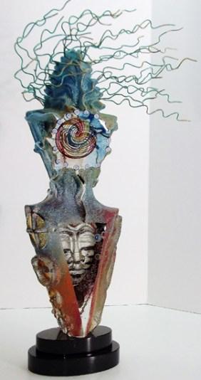 """Ritual-Spirit, Medium: Hand Blown & Cast Glass Size: 24"""" x 6.5"""" x 4"""" Artist: Susan Gott"""