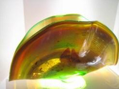 "Green-and-Brown-Fan, Medium: Glass Size: 25"" x 8"" x 14"" Artist: Chris Hawthorne"