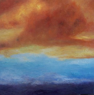 "Catalina-Sunset, Medium: Oil on Canvas Size: 40"" x 40"" Artist: Georgeana Ireland"