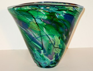 "Apple-Green-Splash-Oval-Vase, Yellow-Series-Splash-Cut-Vase, Medium: Hand-blown Glass Canvas Size: 18"" x 9"" x 9"" Artist: Tim Lazer #20153"