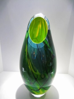 "Chartreuse-Green-Blue-Cut-Vase, Medium: Glass Canvas Size: 21"" x 9"" Artist: Tim Lazer #18532"