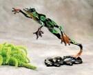 "Leap Frog, Medium: Bronze Catalog: BF44 Size: .625"" x 6.25"" x 1.5"" Artist: Frogman"