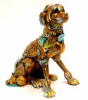 """Eighteen, Medium: Bronze Size: 12""""H x 8""""W x 12""""D Artist: Nano Lopez Eighteen is patiently waiting for his owner to take him down to his favorite """"Duvall Street,"""" where he will be able to demonstrate his brand-new bowling pin trick, and his now well known soccer and tennis ball routines."""