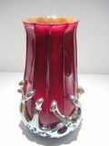 "Red-Lava-Vase, Medium: Glass Size: 10"" x 5"" Artist: Justin and Steven Lundberg"
